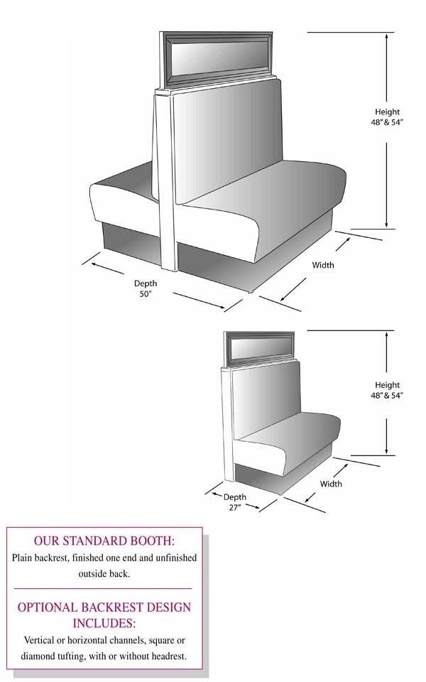 Booths; Restaurant Seating With Backrest